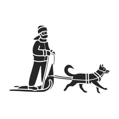 Dog with sled vector icon.black vector icon isolated on white background dog with sled. Ilustracje wektorowe