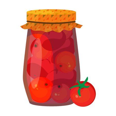Jar tomato vector icon.Cartoon vector icon isolated on white background jar tomato.