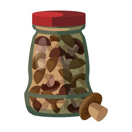 Jar mushrooms vector icon.Cartoon vector icon isolated on white background jar mushrooms.
