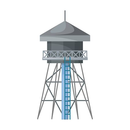 Water tower vector icon.Cartoon vector icon isolated on white background water tower. 矢量图像