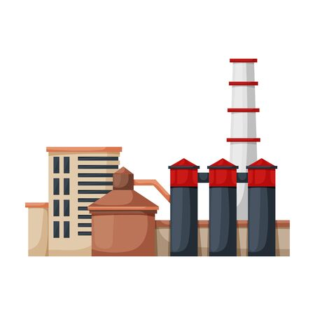Factory building vector icon.Cartoon vector icon isolated on white background factory building. Illustration