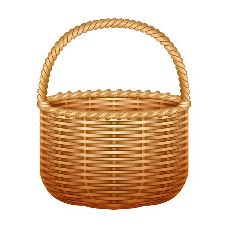 Basket vector icon. Realistic vector icon isolated on white background basket.