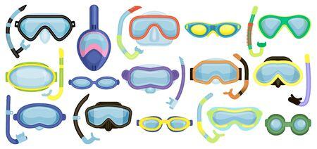 Masken zum Schwimmen Vektor-Cartoon-Set-Symbol. Isolierte Cartoon Set Icons Unterwasserbrille. Vektorillustrationsmasken zum Schwimmen auf weißem Hintergrund.