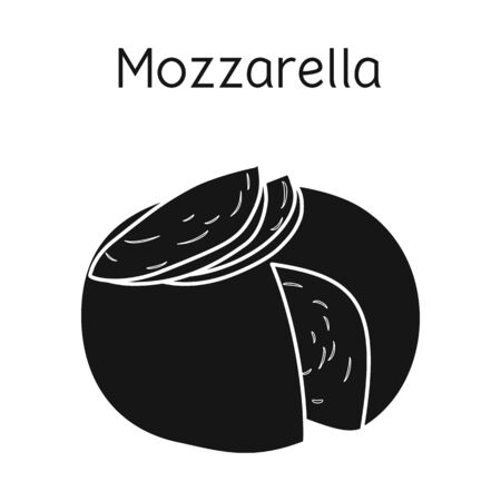 Isolated object of cheese and mozzarella symbol. Web element of cheese and piece stock vector illustration. Иллюстрация