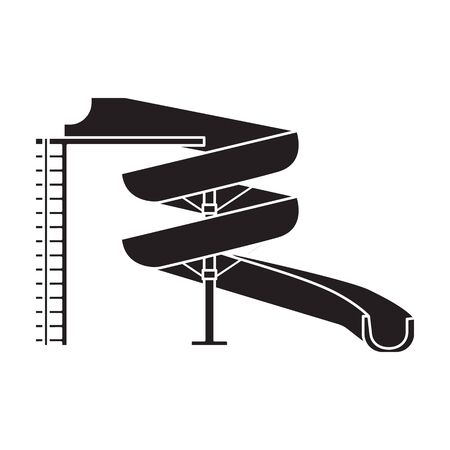 Water slide vector icon.Black vector icon isolated on white background water slide .