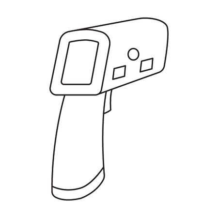 Gun thermometer vector icon.Outline vector icon isolated on white background gun thermometer . Ilustración de vector