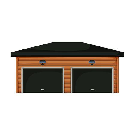 Garage of building vector icon.Cartoon vector icon isolated on white background garage of building. Ilustración de vector