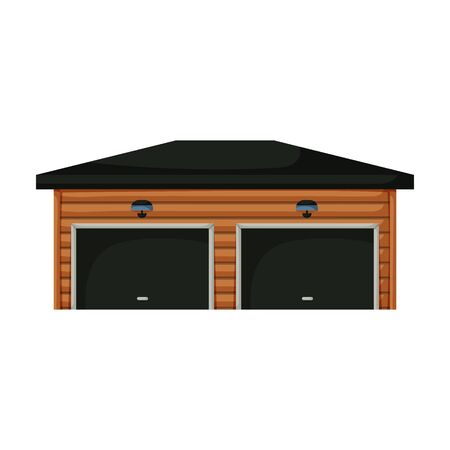 Garage of building vector icon.Cartoon vector icon isolated on white background garage of building. Ilustração Vetorial