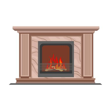 Fireplace vector icon.Cartoon vector icon isolated on white background fireplace.