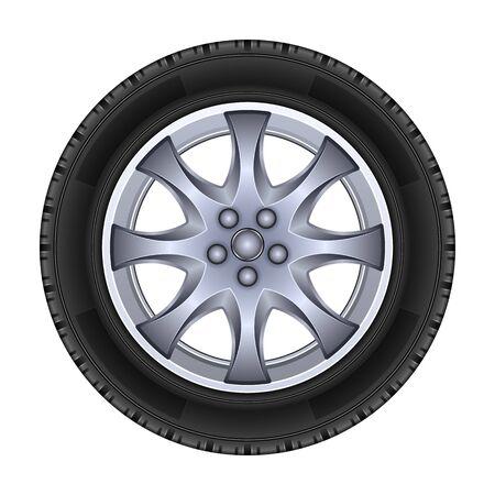 Icône de vecteur de roue. Vecteur réaliste isolé sur roue de fond blanc.