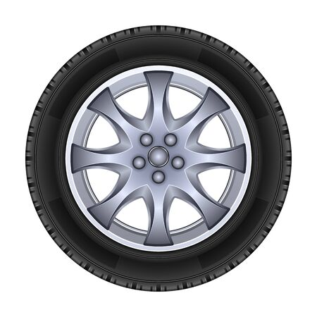 Wheel vector icon.Realistic vector isolated on white background wheel.