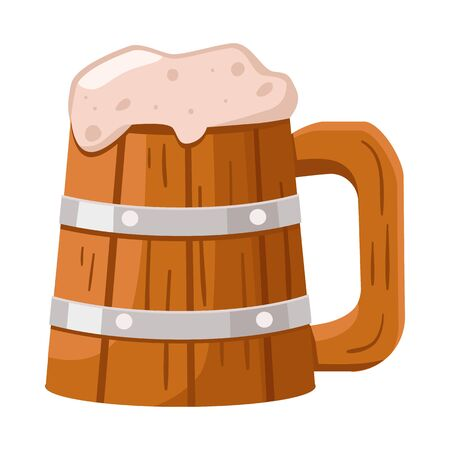 Vector design of beer and mug icon. Web element of beer and wood stock symbol for web. Иллюстрация