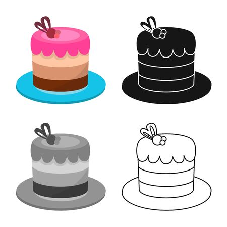 Vector illustration of cake and celebration icon. Web element of cake and chocolate vector icon for stock.