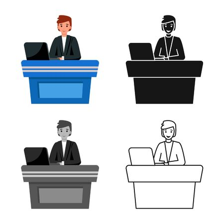 Isolated object of presenter and show icon. Graphic of presenter and man stock symbol for web.