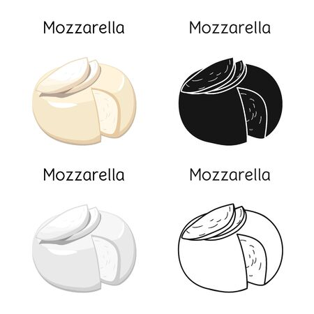 Vector design of cheese and mozzarella icon. Web element of cheese and piece stock symbol for web.