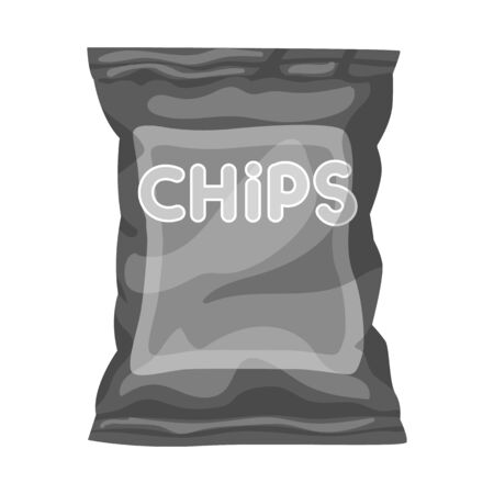 Vector illustration of chip and fluted sign. Graphic of chip and crunchy vector icon for stock. Иллюстрация