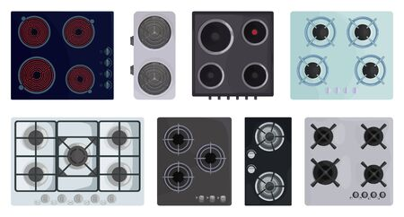 Cooktop surface vector cartoon set icon. Vector illustration electric stove on white background. Isolated cartoon set icon electric stove. Vector Illustration