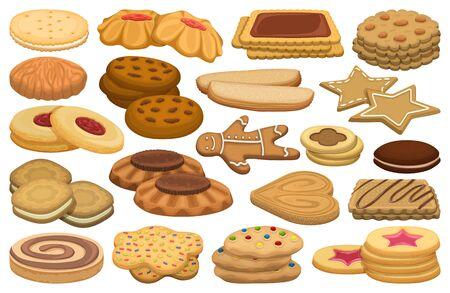 Biscuit vector cartoon set icon. Isolated cartoon set icon cookie.Vector illustration biscuit on white background. Ilustración de vector