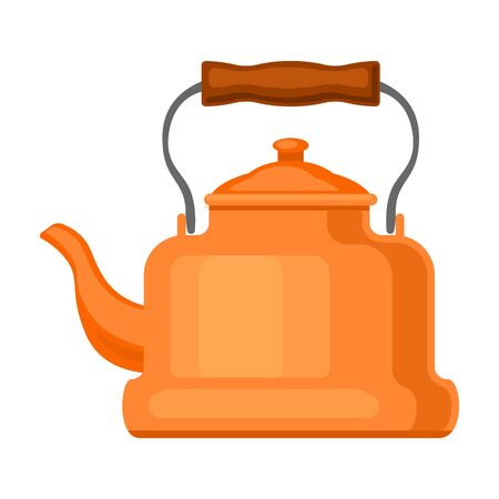 Kettle vector icon.Cartoon vector icon isolated on white background kettle. Vector Illustration