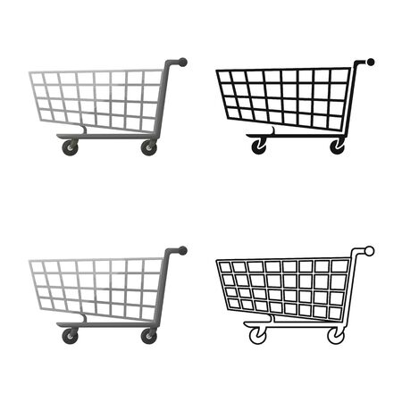 Vector illustration of trolley and basket symbol. Graphic of trolley and store vector icon for stock.
