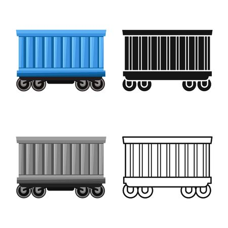 Isolated object of wagon and container symbol. Graphic of wagon and boxcar stock symbol for web.
