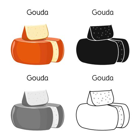 Vector design of cheese and gouda . Graphic of cheese and block stock symbol for web.