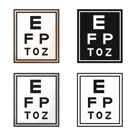 Isolated object of text and optical symbol. Web element of text and eyesight stock symbol for web.