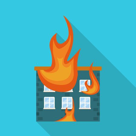 Vector design of house and flame sign. Collection of house and burning stock vector illustration.