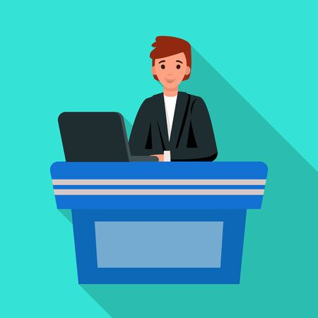 Isolated object of presenter and show sign. Web element of presenter and man vector icon for stock.