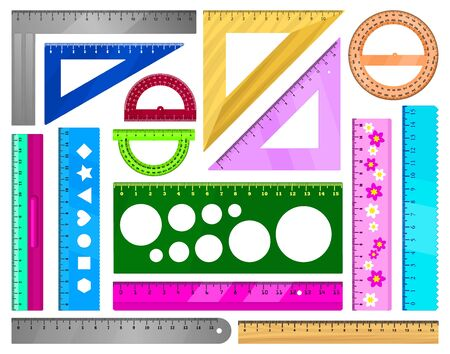 Ruler vector illustration on white background. Vector cartoon set icon protractor of triangle. Isolated cartoon set icons ruler .