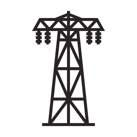 Electric poles vector icon.Black vector icon isolated on white background electric poles. 向量圖像