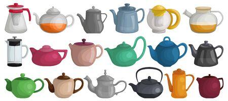 Teapot vector cartoon set icon. Vector illustration kettle on white background. Isolated cartoon set icon teapot. Vettoriali