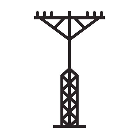 Electric poles vector icon.Black vector icon isolated on white background electric poles. Vettoriali