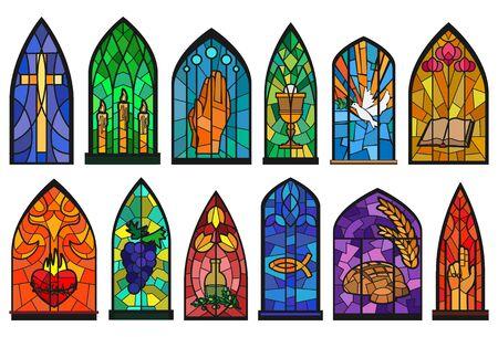 Church windows cartoon set icon. Isolated cartoon set icon cathedral mosaic.Vector illustration church windows on white background. Vetores