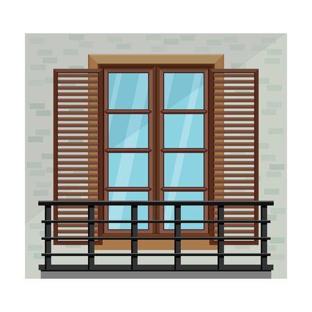 Balcony vector icon.Cartoon vector icon isolated on white background balcony. Ilustração