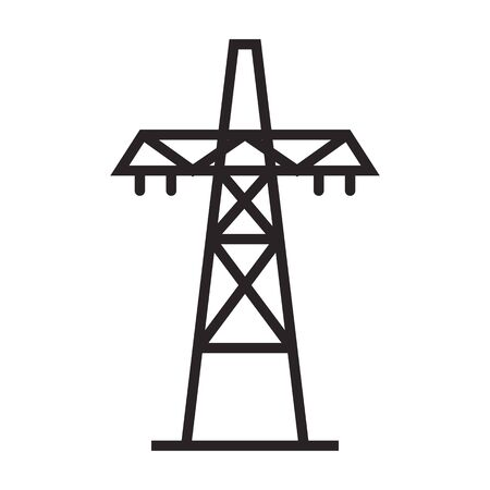 Electric poles vector icon.Black vector icon isolated on white background electric poles.