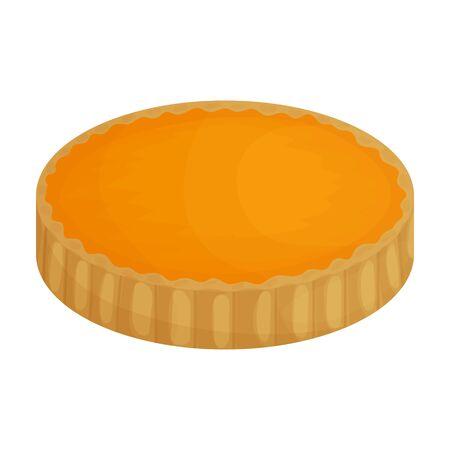 Pumpkin pie vector icon.Cartoon vector icon isolated on white background pumpkin pie. Vektoros illusztráció