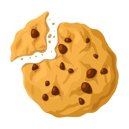 Cookies with crumbs vector icon.Cartoon vector icon isolated on white background cookies with crumbs.
