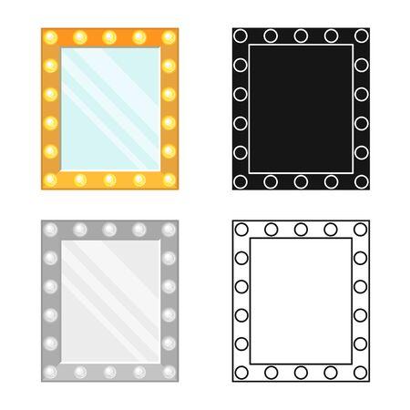 Vector illustration of mirror and illuminated sign. Graphic of mirror and film stock vector illustration.
