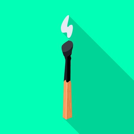 Vector design of burnt and matchstick sign. Web element of burnt and flame stock vector illustration.