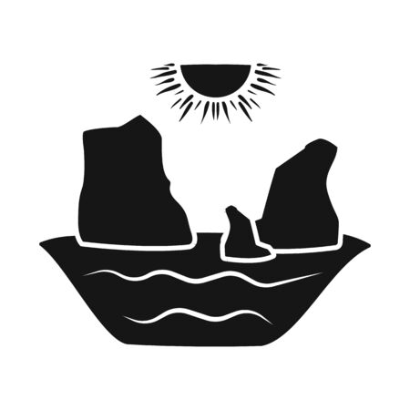 Isolated object of rock and bay. Set of rock and vietnamese vector icon for stock. 일러스트