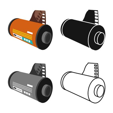 Vector illustration of tape and photo icon. Graphic of tape and roll vector icon for stock. 일러스트