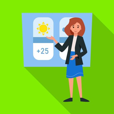 Vector illustration of anchorman and weather icon. Web element of anchorman and news stock symbol for web.