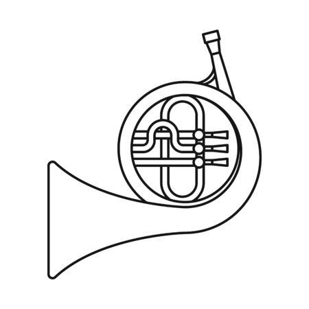 Vector illustration of French and horn sign. Graphic of French and music vector icon for stock.