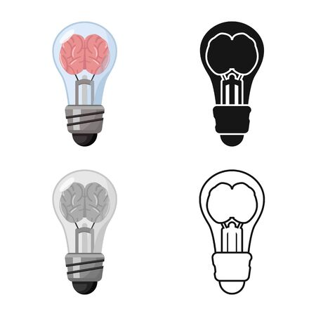 Vector illustration of light and brain symbol. Graphic of light and idea vector icon for stock. Illustration