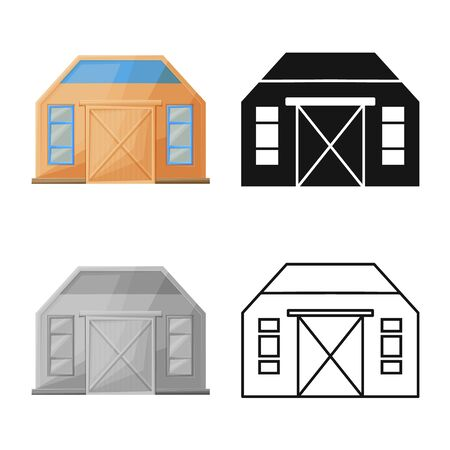 Isolated object of hangar and logistic. Graphic of hangar and garage stock vector illustration.