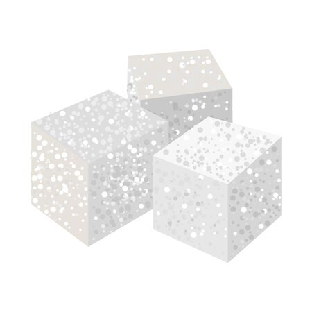 Vector illustration of cube and sugar. Web element of cube and ingredient stock vector illustration.