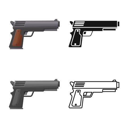 Vector design of pistol and caliber symbol. Graphic of pistol and handgun vector icon for stock. 일러스트