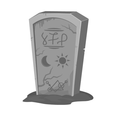 Isolated object of tombstone and stone sign. Web element of tombstone and gravestone stock symbol for web. 일러스트