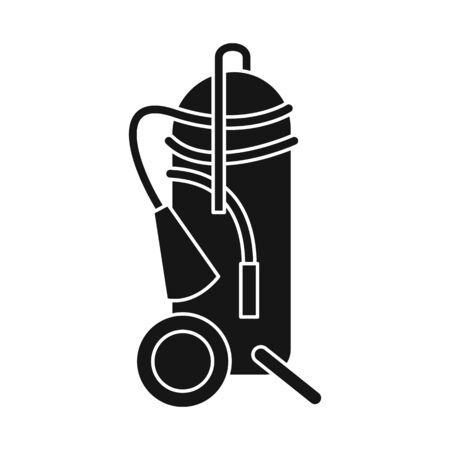 Vector illustration of extinguisher and extinguish  . Set of extinguisher and red stock symbol for web. Vettoriali